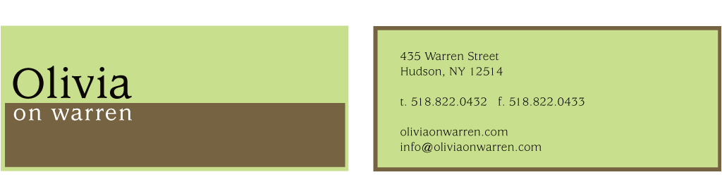 Olivia on Warren Business Card