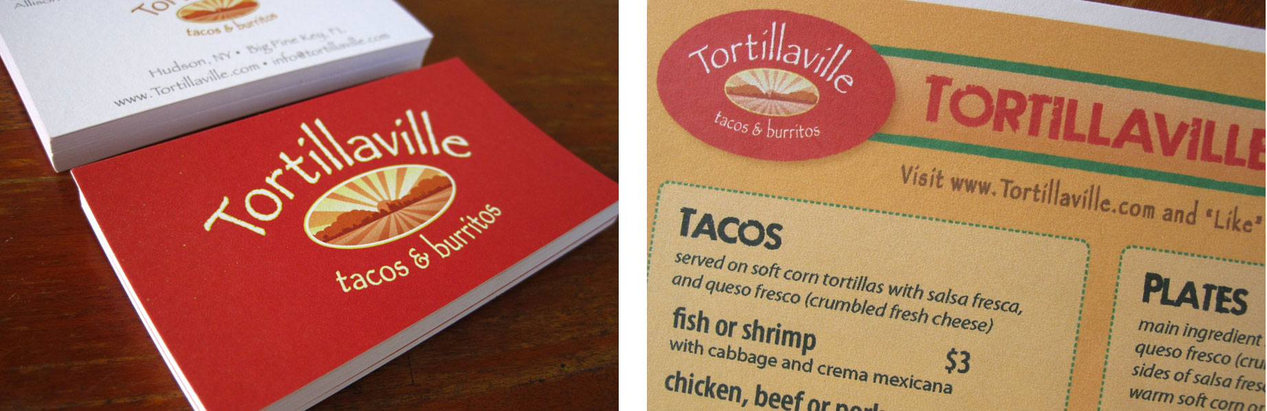 Tortillaville Business Cards & Menu